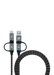 Momax 1.2-Meter Multiple Types Cable, USB Type-C/USB A Male to Micro USB B/USB Type-C, 4-in-1 Nylon Braided 60W, Power Delivery Fast Charging and Data Sync, Black