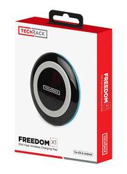TechRack Freedom X1 Universal Wireless Charging Pad, 10W with Fast Qi Technology, Black