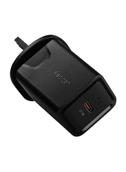 Spigen Essential F210 UK Wall Charger, USB-C Charger, 27W, IP Technology, USB C Fast Charge with Power Delivery 3.0, Black