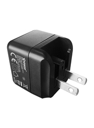 Xpower Mini Cube Universal Travel Adapter USB Charger, Smart IC Technology, 2 USB Ports, 2.4A Quick Charge and AC Power Plug, Black