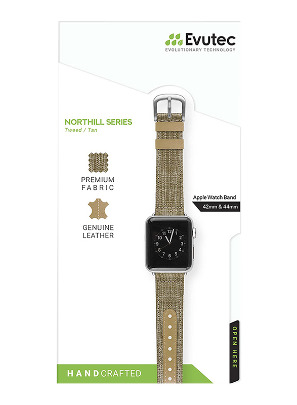 Evutec Northill Series Watch Band for Apple Watch 44mm/42mm Series 4/3/2/1, Tweed Tan