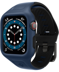 Spigen Apple Watch 44mm Series 6 / SE/5/4 Silicone band with case cover Liquid Air Pro, Blue