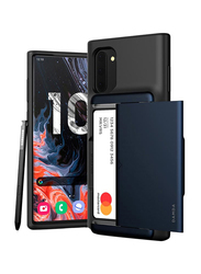 Vrs Design Samsung Galaxy Note 10 Damda Glide Shield Semi Automatic Card Wallet Mobile Phone Case Cover, Deep Sea Blue