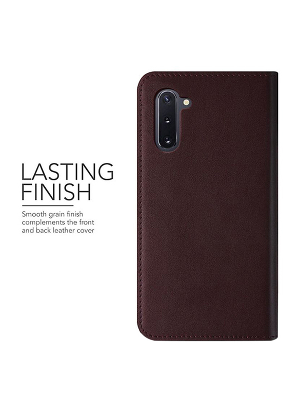 Vrs Design Samsung Galaxy Note 10 Genuine Leather Diary Wallet Mobile Phone Case Cover, Wine