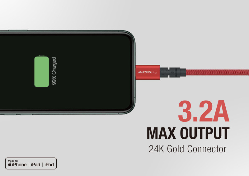 Amazing Thing 1.1-Meter Powermax Plus Lightning Cable, 3.2A USB A to Lightning Cable, MFi Certified, Fast Charge Robust 55kg Resistance 50000 Bend test 19AWG for Apple iPhone/iPad/iPod, Wine Red