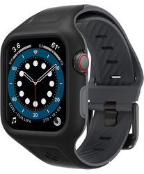 Spigen Apple Watch 44mm Series 6 / SE/5/4 Silicone band with case cover Liquid Air Pro, Black