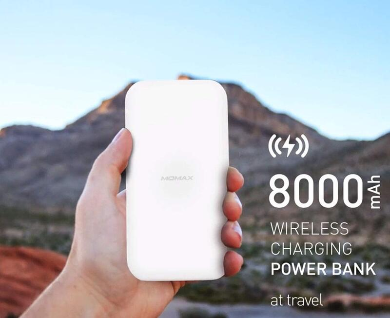 Momax Q.Power Pro 10W Wireless Charging Pad, Qi Certified Technology with 8000mAh Power Bank 18W Output, White