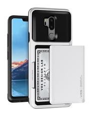Vrs Design LG G7 ThinQ Damda Glide Semi Automatic Card Slider Wallet Mobile Phone Case Cover, Cream White