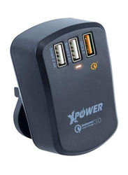 Xpower WC3Q3 Universal Wall Charger, Smart Travel Quick and 7.8A QC 3.0 USB 2.4A Fast Charge with Travel Adapters, Black
