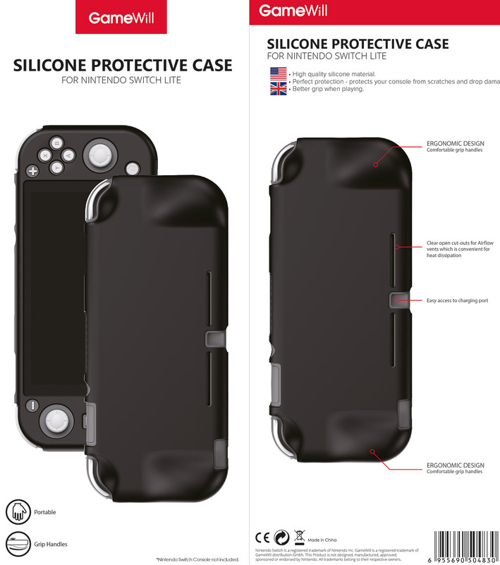 Gamewill Silicone Protective Case Cover for Nintendo Switch Lite, Black