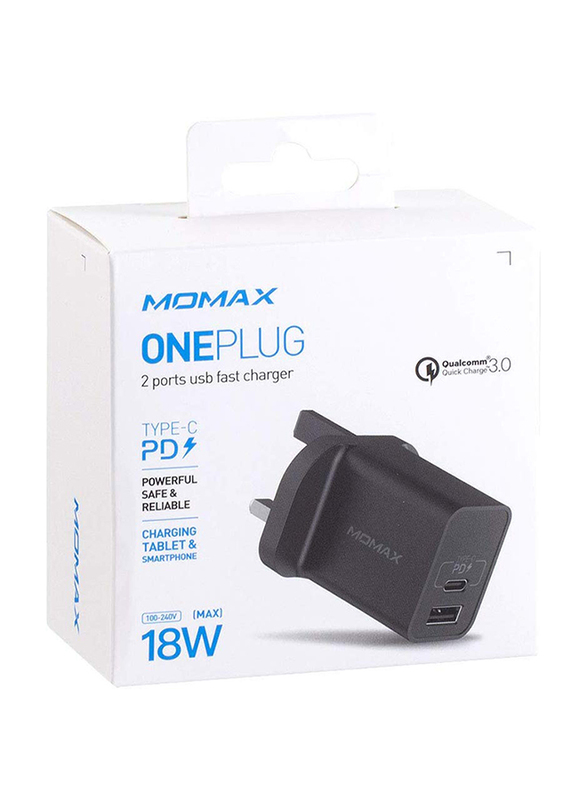 Momax UM13 UK 18W Fast Wall Charger, One Plug 2 Ports USB-C Power Deliver, QC 3.0 USB Adapter, Black