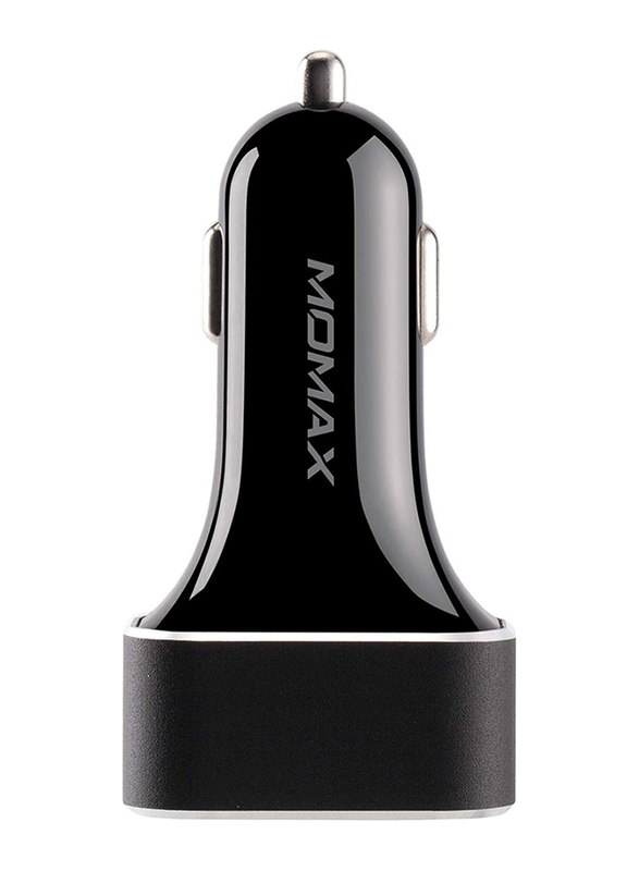 Momax UC11 63W Fast Car Charger, Dual-Port QC3.0 and USB-C Power Deliver, Black