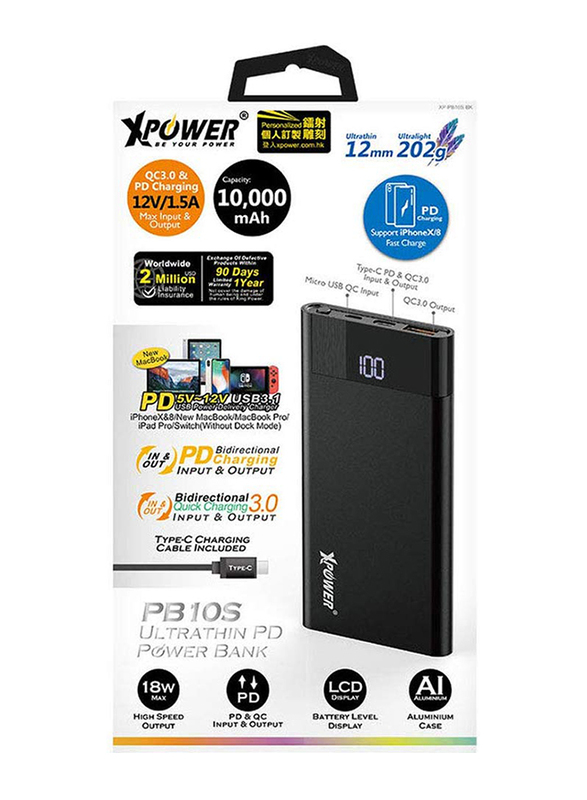 XPower 10000mAh Fast Charging Power Bank, 2 Port PD Portable Charger with Type-C Cable, Black