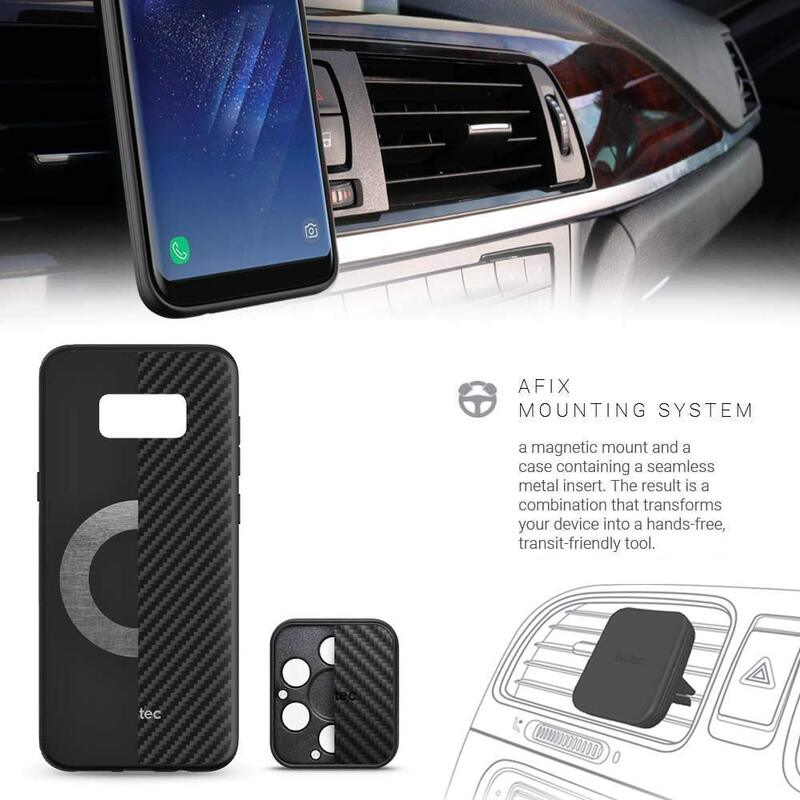 Evutec Samsung Galaxy S8 AER Series Mobile Phone Case Cover, with AFIX Air Vent Magnetic Car Mount, Karbon Black
