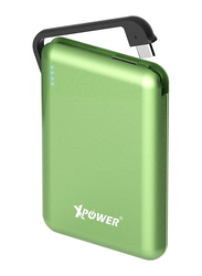 XPower 5000mAh Fast Charging Power Bank, External Battery Pack Portable Charger, Built-in Type C Cable Lightning and Micro USB, Green