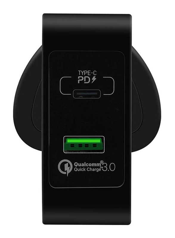 Momax UM8 UK 48W Fast Wall Charger, One Plug 2 Ports USB-C Power Deliver, QC 3.0 USB Adapter, Black