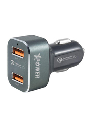 Xpower CC2Q3 Car Charger, Quick Charge 3.0, 36W with 2 USB Port, Black