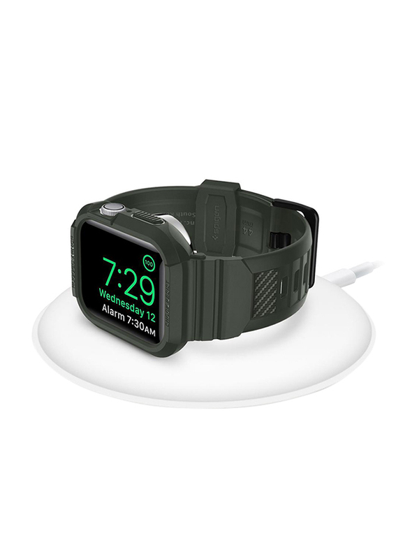 Spigen Rugged Armor Pro Watch Cover Case for Apple Watch 44mm Series 5/4, with Watch Band, Military Green