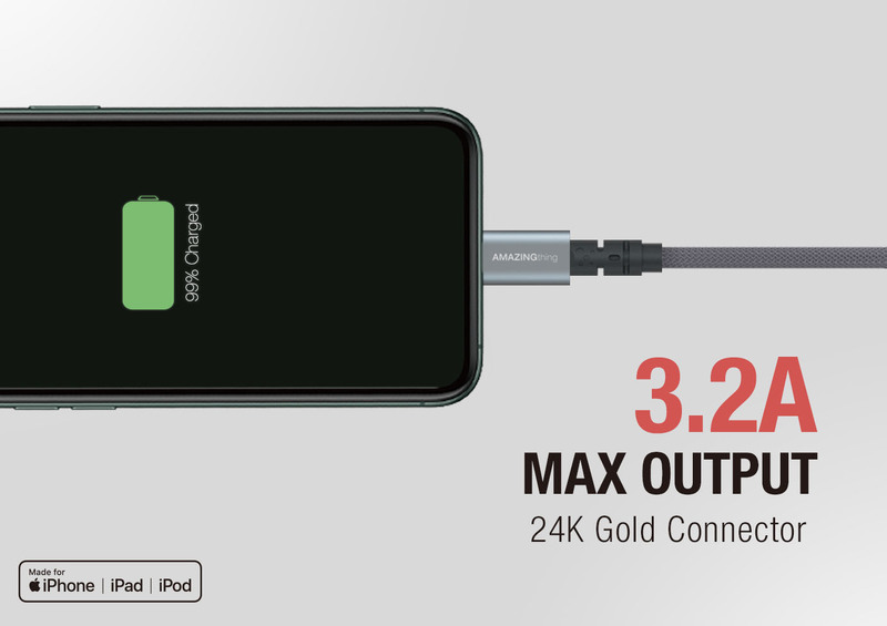 Amazing Thing 1.1-Meter Powermax Plus Lightning Cable, 3.2A USB A to Lightning Cable, MFi Certified, Fast Charge Robust 55kg Resistance 50000 Bend test 19AWG for Apple iPhone/iPad/iPod, Space Gray