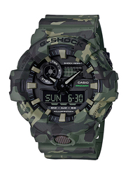 Casio G-Shock Analog/Digital Watch for Men With Resin Band, Water Resistant and Chronograph, GA-700CM-3ADR, Green-Black