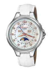 Casio Sheen Analog Watch for Women With Stainless Steel Band, Water Resistant and Chronograph, SHE-3045L-7AUDR, Silver-Multicolour