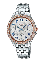 Casio Sheen Analog Watch for Women With Stainless Steel Band, Water Resistant and Chronograph, SHE-3062SG-7AUDF, Silver-White