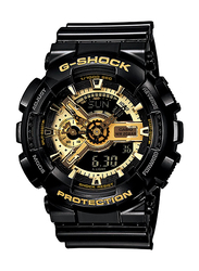 Casio G-Shock Analog/Digital Watch for Men With Resin Band, Water Resistant and Chronograph, GA-110GB-1ADR, Black-Gold