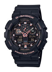 Casio G-Shock Analog/Digital Watch for Men With Resin Band, Water Resistant and Chronograph, GA-100GBX-1A4DR, Black-Rose Gold