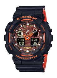 Casio G-Shock Analog/Digital Watch for Men With Resin Band, Water Resistant and Chronograph, GA-100BR-1ADR, Black-Orange