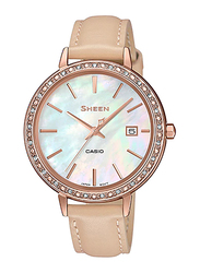 Casio Sheen Analog Watch for Women With Genuine Leather Band, Water Resistant, SHE-4052PGL-7BUDF, Beige-Multicolour