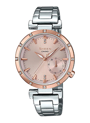 Casio Sheen Analog Watch for Women With Stainless Steel Band, Water Resistant, SHE-4051SG-4AUDF, Silver-Rose Gold