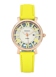 Casio Sheen Analog Watch for Women With Genuine Leather Band, Water Resistant, SHE-4047PGL-9AUDR, Yellow-Silver