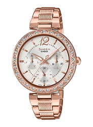 Casio Sheen Analog Watch for Women With Stainless Steel Band, Water Resistant and Chronograph, SHE-3065PG-7AUDF, Rose Gold-White