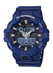 Casio G-Shock Analog/Digital Watch for Men With Resin Band, Water Resistant and Chronograph, GA-700-2ADR, Blue-Black