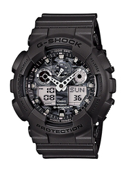 Casio G-Shock Analog/Digital Watch for Men With Resin Band, Water Resistant and Chronograph, GA-100CF-8ADR, Black-Silver