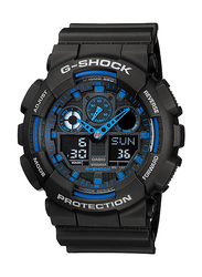 Casio G-Shock Analog/Digital Watch for Men With Resin Band, Water Resistant and Chronograph, GA-100-1A2DR, Black-Blue