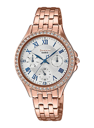 Casio Sheen Analog Watch for Women With Stainless Steel Band, Water Resistant and Chronograph, SHE-3062PG-7AUDF, Rose Gold-White