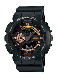 Casio G-Shock Analog/Digital Watch for Men With Resin Band, Water Resistant and Chronograph, GA-110RG-1ADR, Black-Multicolour