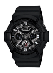 Casio G-Shock Analog/Digital Watch for Men With Resin Band, Water Resistant and Chronograph, GA-201-1ADR, Black-Silver