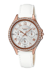 Casio Sheen Analog Watch for Women With Genuine Leather Band, Water Resistant and Chronograph, SHE-3062PGL-7AUDF, White
