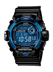Casio G-Shock Digital Watch for Men With Resin Band, Water Resistant and Chronograph, G-8900A-1DR, Black-blue