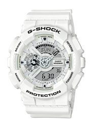 Casio G-Shock Analog/Digital Watch for Men With Resin Band, Water Resistant and Chronograph, GA-110MW-7ADR, White-Grey
