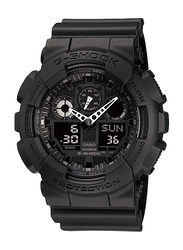 Casio G-Shock Analog/Digital Watch for Men With Resin Band, Water Resistant and Chronograph, GA-100-1A1DR, Black