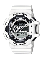 Casio G-Shock Analog/Digital Watch for Men With Resin Band, Water Resistant and Chronograph, GA-400-7ADR, white-Black