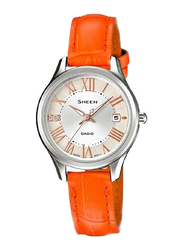Casio Sheen Analog Watch for Women With Stainless Steel Band, Water Resistant, SHE-4050L-7AUDR, orange-Silver