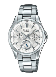 Casio Sheen Analog Watch for Women With Stainless Steel Band, Water Resistant and Chronograph, SHE-3060D-7AUDR, Silver-White