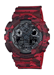 Casio G-Shock Analog/Digital Watch for Men With Resin Band, Water Resistant and Chronograph, GA-100CM-4ADR, Red-Silver