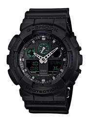 Casio G-Shock Analog/Digital Watch for Men With Resin Band, Water Resistant and Chronograph, GA-100MB-1ADR, Black