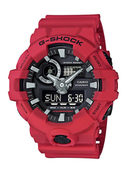 Casio G-Shock Analog/Digital Watch for Men With Resin Band, Water Resistant and Chronograph, GA-700-4ADR, Red-Black