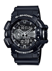 Casio G-Shock Analog/Digital Watch for Men With Resin Band, Water Resistant and Chronograph, GA-400GB-1ADR, Black-Gold